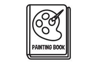 Book Icon Painting Palette Black Line Graphic Icons By aerorbstudio
