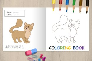 Coloring Book Animal Page for Kids - Cat Graphic Coloring Pages & Books Kids By 57creative