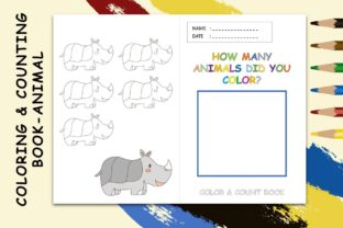 Coloring & Counting Book Page Kids Rhino Graphic 4th grade By 57creative
