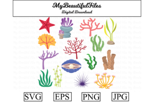 Print on Demand: Corals Seaweed Clipart Bundle Graphic Illustrations By MyBeautifulFiles