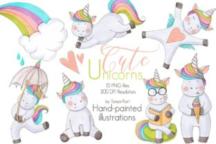Cute Unicorns Clipart Graphic Illustrations By Tanya Kart