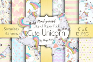 Cute Unicorns Paper Pack Graphic Patterns By Tanya Kart
