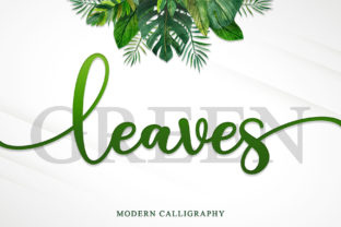 Print on Demand: Green Leaves Script & Handwritten Font By Sakha Design