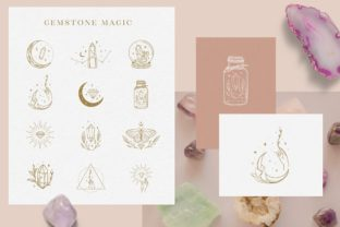 Print on Demand: Logo Elements with Gemstones Vector. Graphic Logos By Olya.Creative