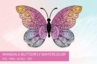 Mandala Butterfly Watercolor Vol.1 Graphic Print Templates By UrufaArt