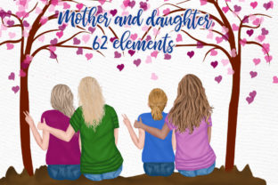 Print on Demand: Mother and Daughter, Family Clipart Grafik Illustrationen von LeCoqDesign