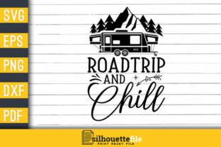 Print on Demand: Roadtrip and Chill Graphic Print Templates By Silhouettefile