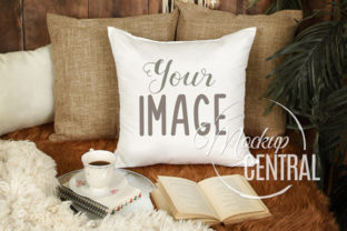 Rustic Square Bedroom Mockup Pillow Grafik Produktmodelle von Mockup Central