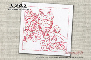 Spooky Owl Sitting on Branch Redwork Birds Embroidery Design By Redwork101