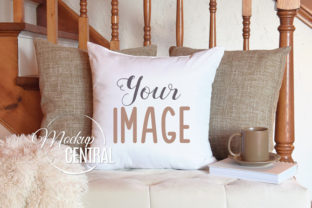Square Living Room Pillow Mockup Graphic Product Mockups By Mockup Central