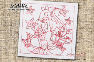 Squirrel in Flowers Redwork Woodland Animals Embroidery Design By Redwork101