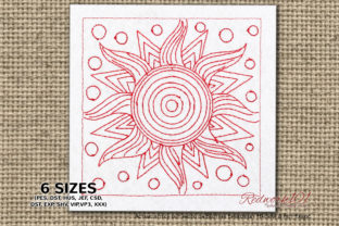 Sun Redwork Inspirational Embroidery Design By Redwork101