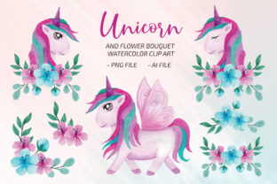 Unicorn Watercolor Clip Art Set PNG Vol2 Graphic Print Templates By UrufaArt