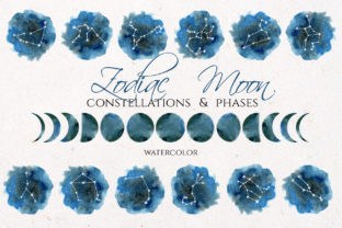 Watercolor Zodiac & Blue Moon Clipart Graphic Illustrations By lena-dorosh