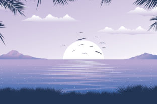 Print on Demand: Beach Beautiful Landscape in Sunrise Graphic Illustrations By edywiyonopp