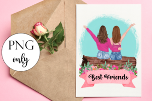 Best Friends Sitting on a Log Graphic Illustrations By Dark Carnival