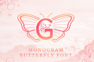 Print on Demand: Butterfly Monogram Decorative Font By handles creative