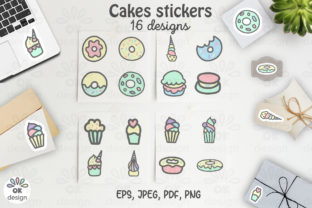 Cake Stickers. Printable 16 Sweet Design Graphic Illustrations By OK-Design