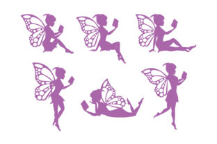 Print on Demand: Cute Fairy Reading Book Silhouette Graphic Illustrations By curutdesign
