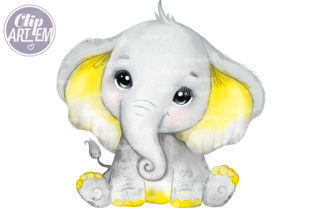 Print on Demand: Cute Yellow Baby Elephant PNG Clip Art Graphic Illustrations By clipArtem