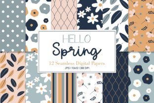 Digital Seamless Paper Hello Spring Graphic Patterns By Sweet Shop Design