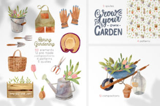 Gardening Tools Watercolor Collection Graphic Illustrations By Julia M. Watercolor
