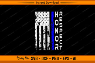 Honor Respect Police - US Flag Graphic Print Templates By sketchbundle