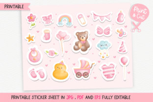 Print on Demand: It's a Girl Printable Stickers, Baby Graphic Crafts By Chonnieartwork