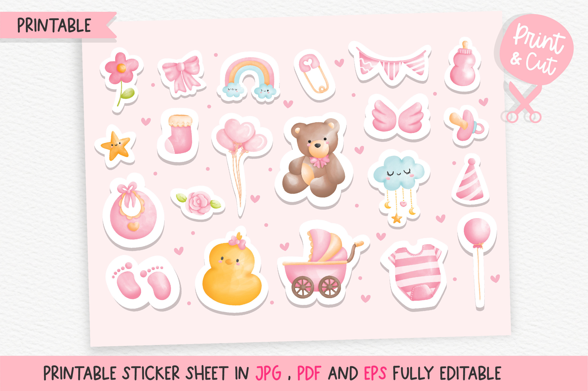 It's a Girl Printable Stickers, Baby SVG File