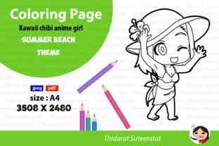 Kawaii Anime Girl - Coloring Page- No.14 Graphic Coloring Pages & Books Kids By thidarat.suteeratat