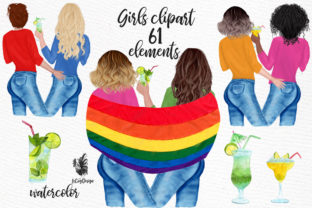 Print on Demand: LGBTQ Girls Clipart Lesbian Couples Gay Graphic Illustrations By LeCoqDesign