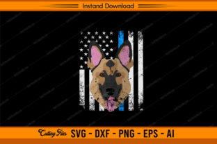 Police with Dog US Flag Graphic Print Templates By sketchbundle