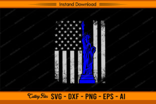 Statue of Liberty with US Flag - Police Graphic Print Templates By sketchbundle