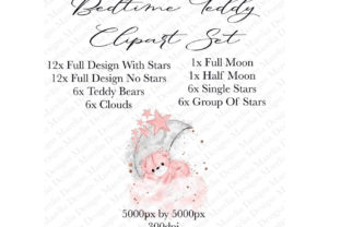 Teddy Bed Time Clipart Set Graphic Illustrations By Marelia Designs