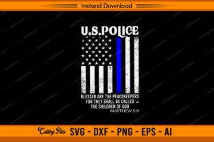 US Police with Distressed Flag Graphic Print Templates By sketchbundle