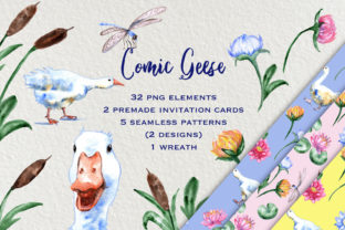 Print on Demand: Watercolor Comic Geese Clip Art Set Graphic Illustrations By Ilona Creates