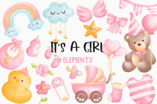 Print on Demand: Watercolor It's a Girl Clipart Graphic Illustrations By Chonnieartwork