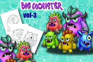 Big Monster Coloring Page for Kids Vol-3 Graphic Coloring Pages & Books Kids By Moonz Coloring