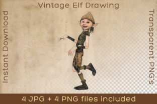 Print on Demand: Elf Fictional Character Vintage Drawing Graphic Illustrations By Vintage 12by12