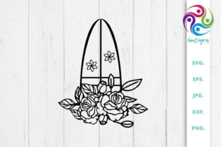 Print on Demand: Floral Surfboard Svg Cut File Graphic Crafts By Sintegra 1