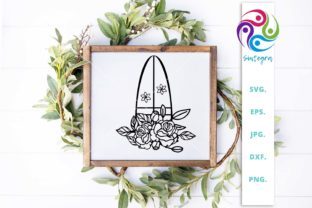 Print on Demand: Floral Surfboard Svg Cut File Graphic Crafts By Sintegra 2