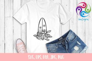 Print on Demand: Floral Surfboard Svg Cut File Graphic Crafts By Sintegra 3