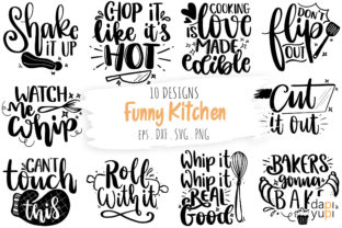 Print on Demand: Funny Kitchen SVG Bundle, Kitchen Quotes Graphic Crafts By dapiyupi