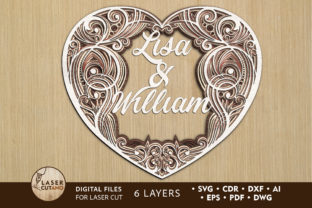 Multilayer Cut File CUSTOM HEART Wedding Grafik 3D SVG von LaserCutano
