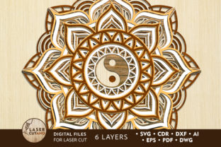 Print on Demand: Multilayer Cut File MANDALA for Laser Cu Graphic 3D SVG By LaserCutano