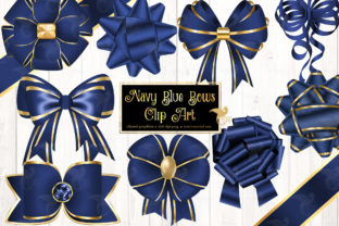Print on Demand: Navy Blue Bows Clipart Graphic Illustrations By Digital Curio