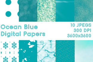 Print on Demand: Ocean Blue Digital Papers Graphic Backgrounds By G.Gray