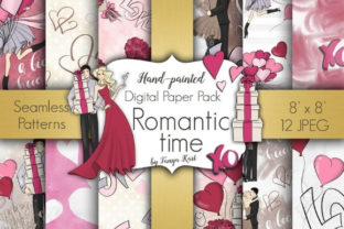 Romantic Time Digital Paper Pack Graphic Patterns By Tanya Kart
