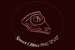 Print on Demand: Sublimation Pie Pink Glitter Lineart Graphic Illustrations By art.rm