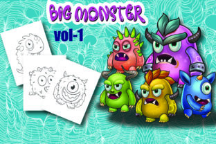 Big Monster Coloring Page for Kids Vol-1 Graphic Coloring Pages & Books Kids By Moonz Coloring